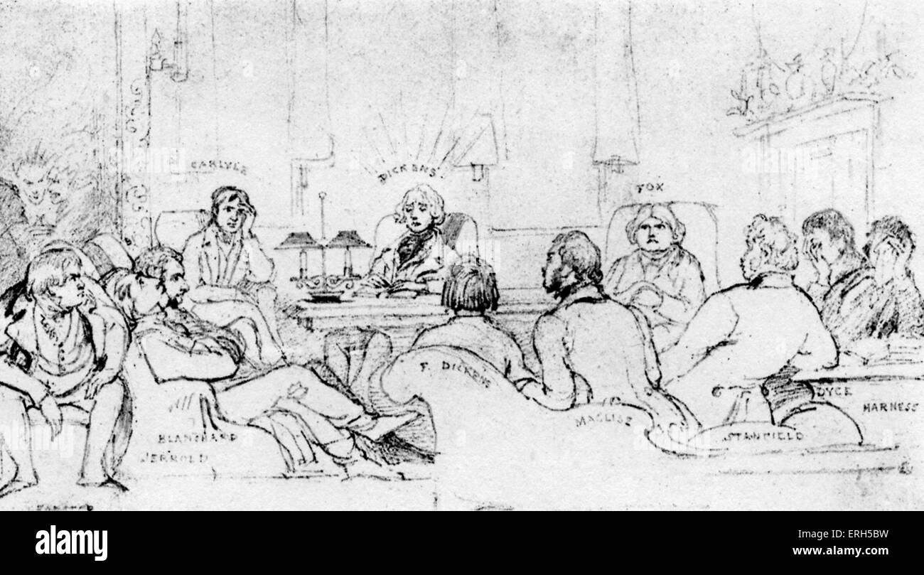 A Literary Gathering in 1844 - Charles Dickens reading The Chimes to his friends in Forster 's chambers. Pencil - Stock Image