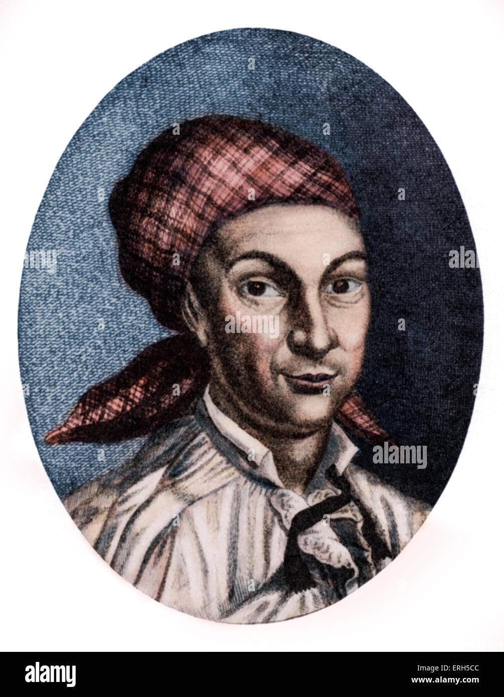 Johann Georg Hamann - portrait of the German philosopher, 27 August 1730 - 21 June 1788. Colourised version. - Stock Image
