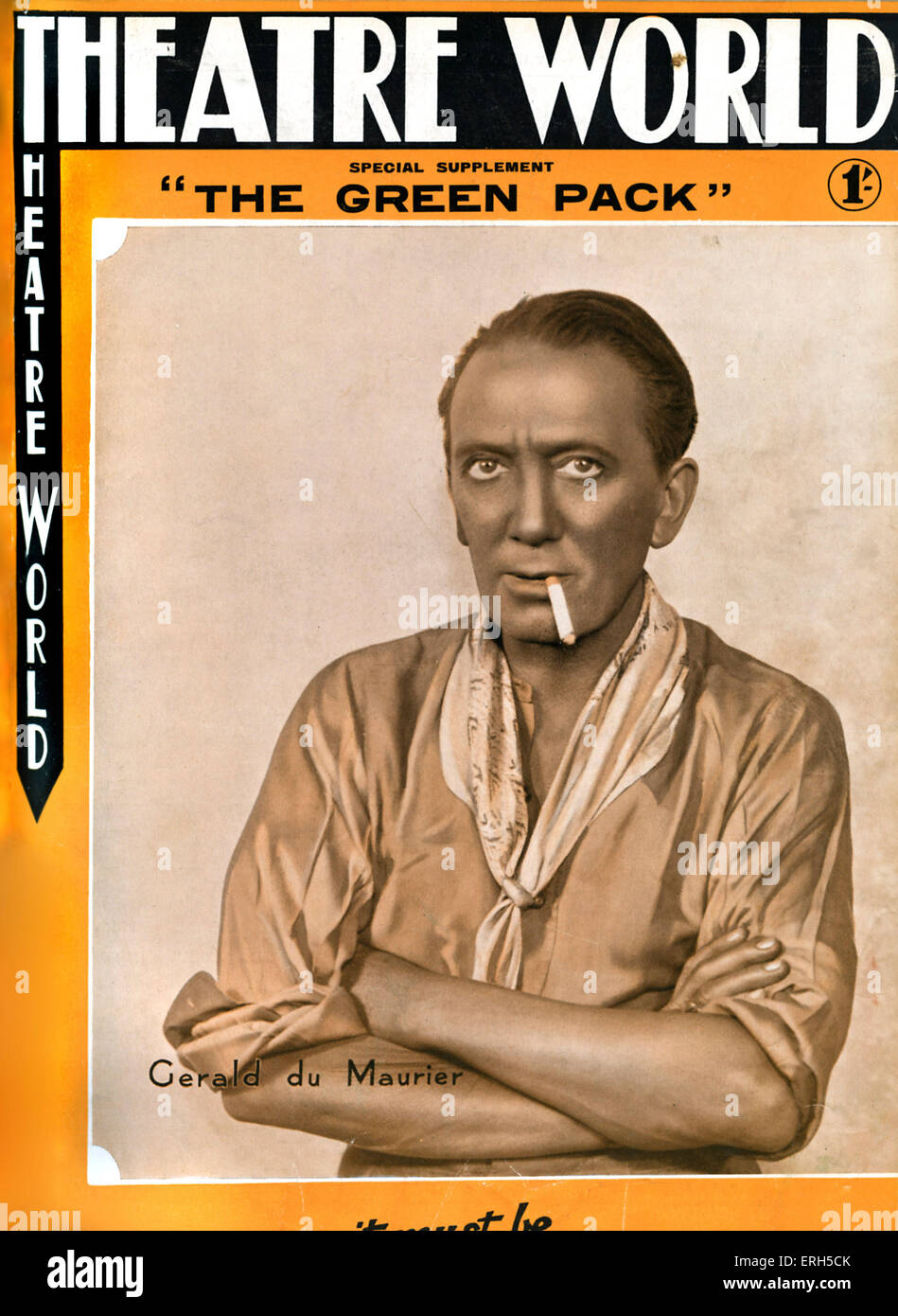 Gerald du Maurier (Larry Deans) with cigarette in ' The Green Pack '  by Edgar Wallace at Wyndham's - Stock Image