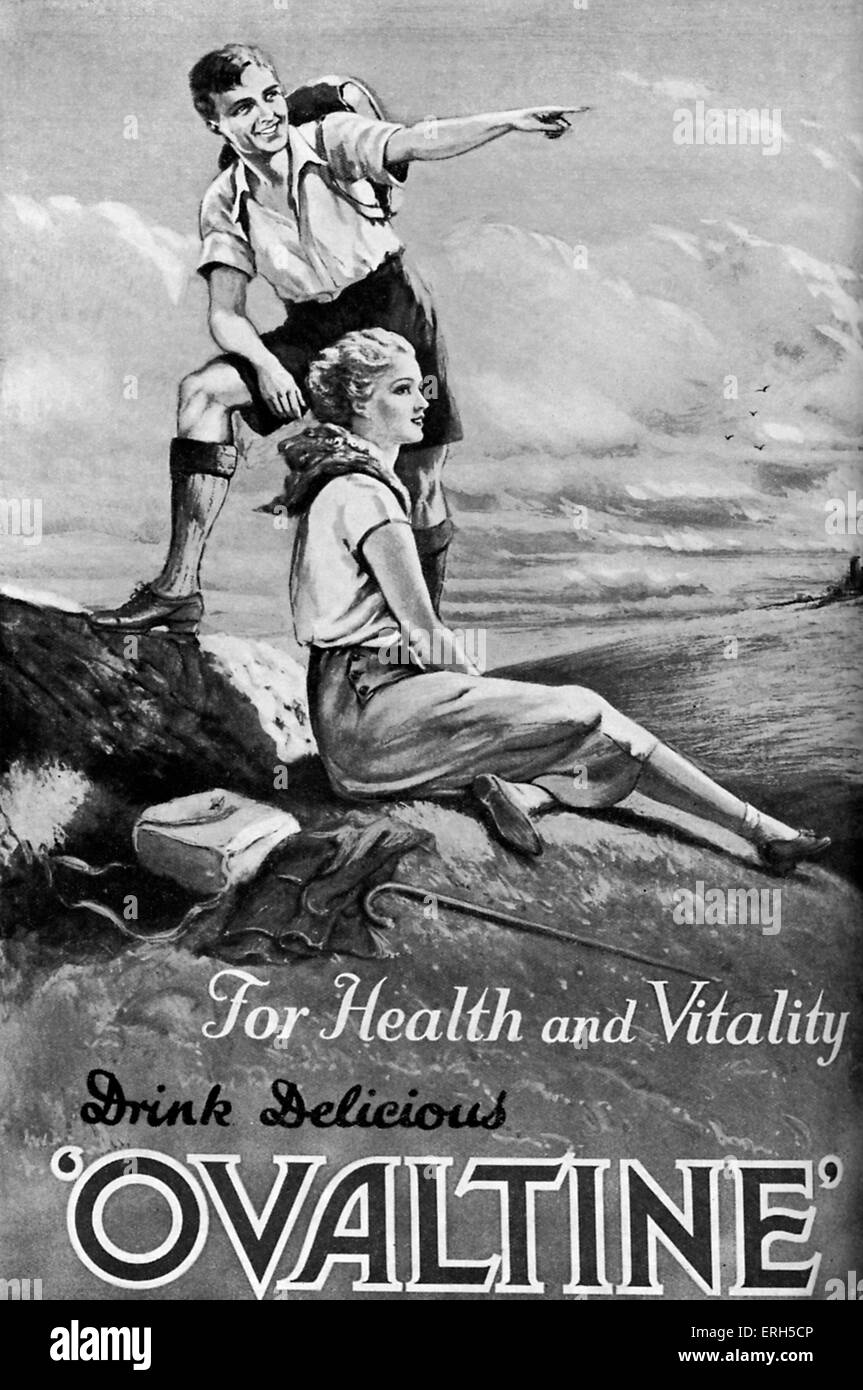 ' Ovaltine ' magazine advertisement, 1932. Two hikers in the English countryside. - Stock Image