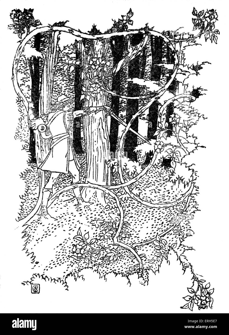 Sleeping Beauty written and illustrated by Walter Crane and published in 1914. The scene depicts the prince cutting - Stock Image