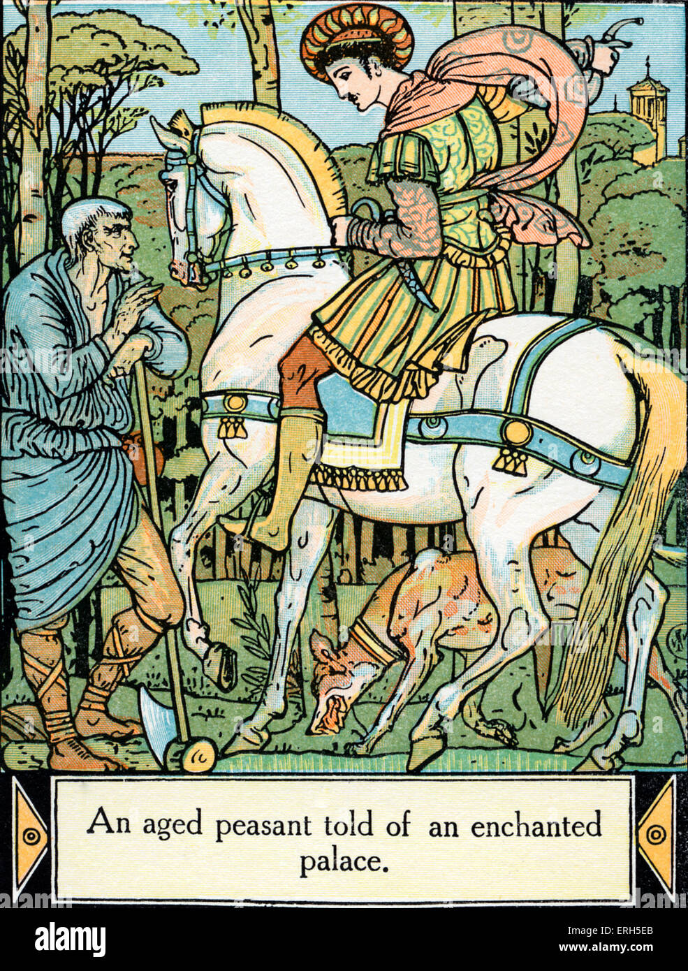 Sleeping Beauty written and illustrated by Walter Crane and published in 1914. The scene depicts the Prince being - Stock Image