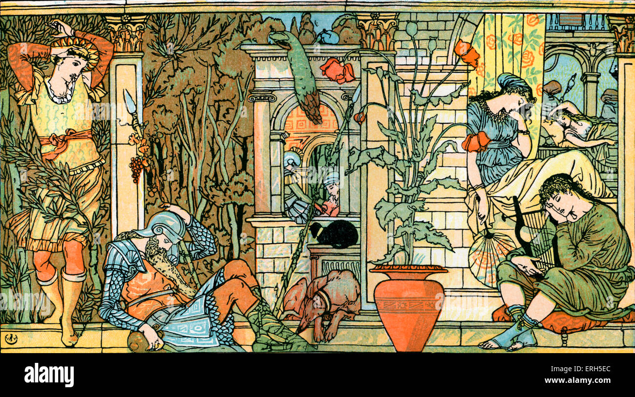 Sleeping Beauty written and illustrated by Walter Crane and published in 1914. The scene depicts the courtiers and - Stock Image