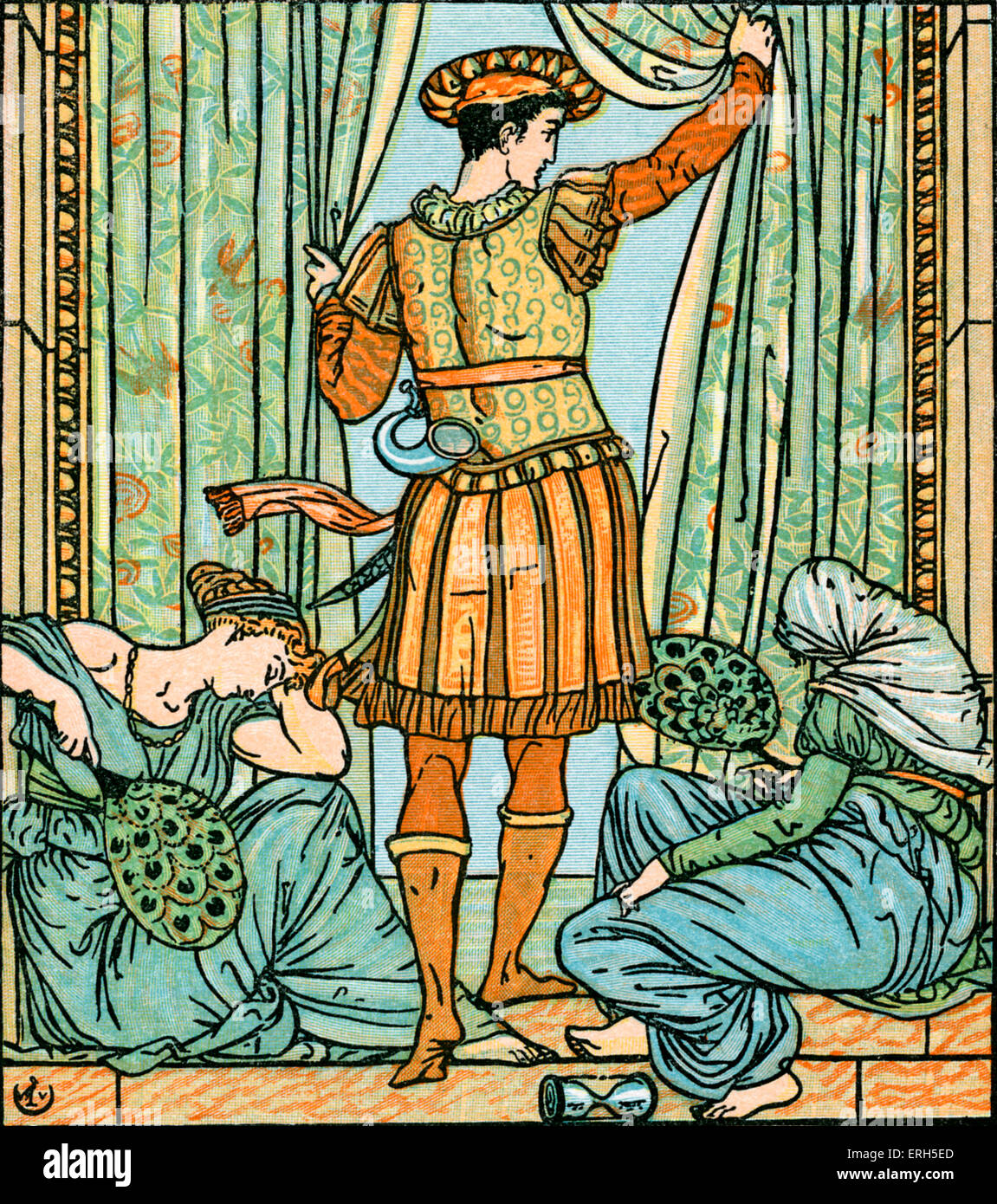 Sleeping Beauty written and illustrated by Walter Crane and published in 1914. The scene depicts the Prince investigating - Stock Image