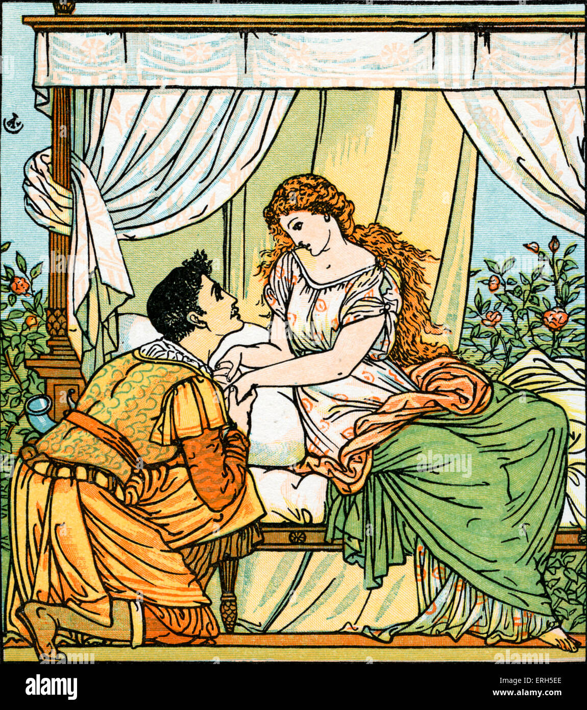 Sleeping Beauty written and illustrated by Walter Crane and published in 1914. The scene depicts the Prince waking - Stock Image