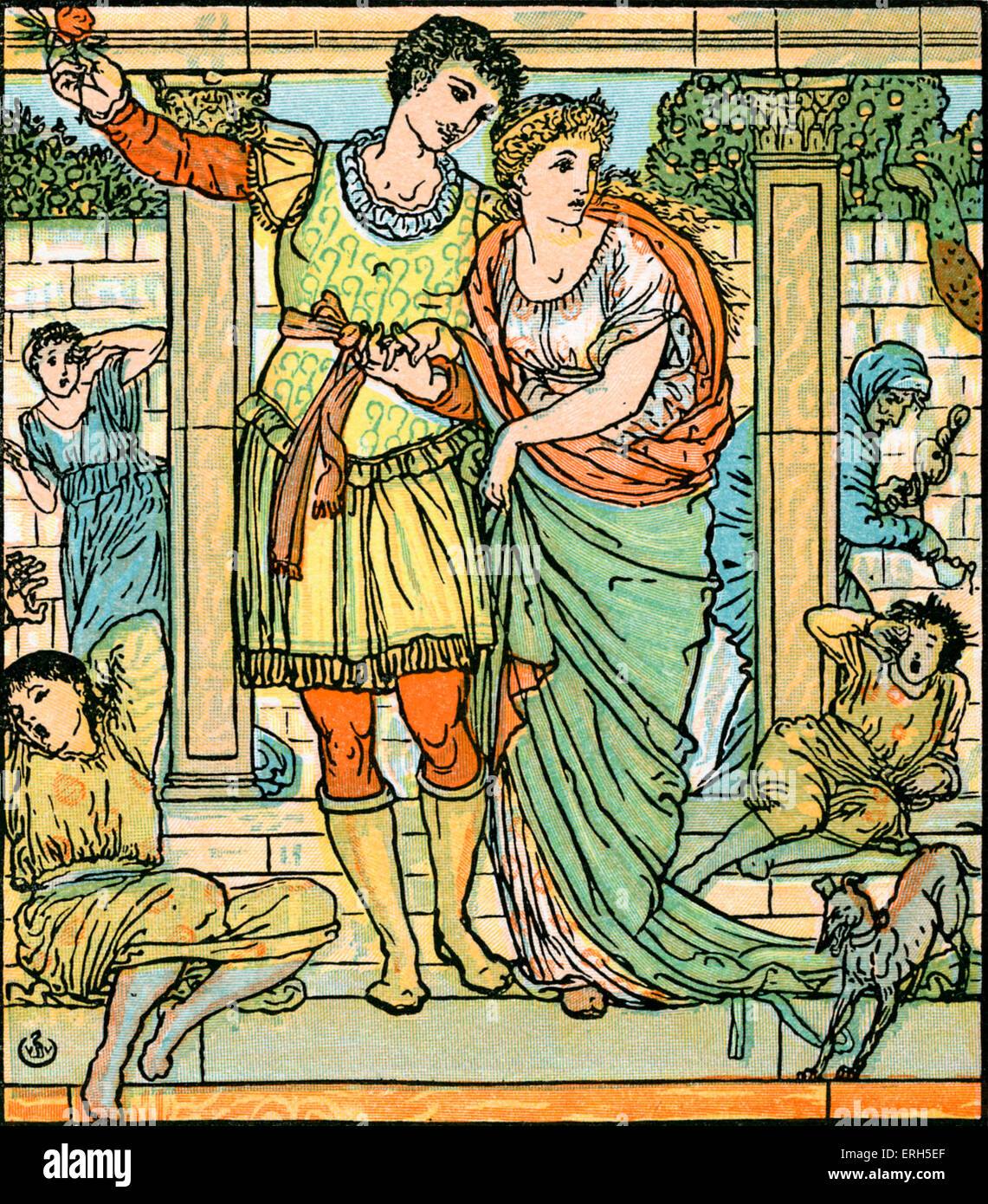 Sleeping Beauty written and illustrated by Walter Crane and published in 1914. The scene depicts the Prince leading - Stock Image