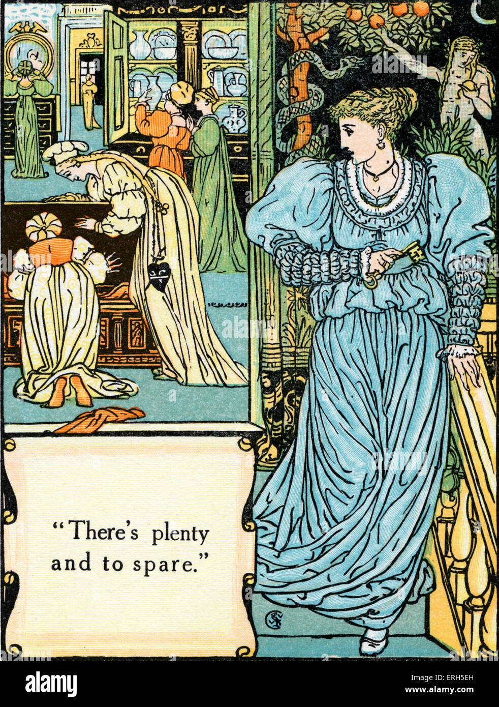 Bluebeard written and illustrated by Walter Crane and published in 1914. The scene depicts Bluebeard's wife's - Stock Image