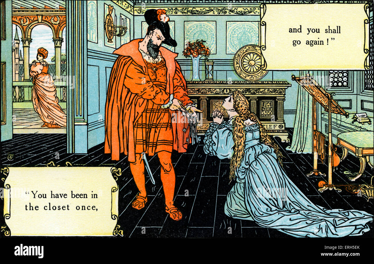 Bluebeard written and illustrated by Walter Crane and published in 1914. The scene depicts Blue Beard discovering - Stock Image