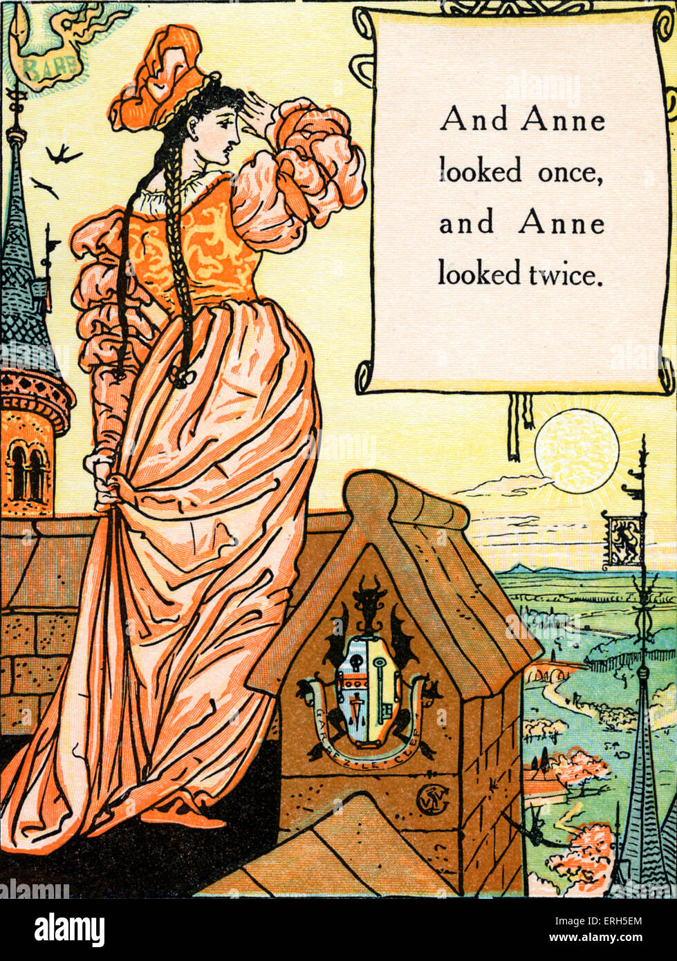 Bluebeard written and illustrated by Walter Crane and published in 1914. The scene depicts Blue Beard's wife's - Stock Image