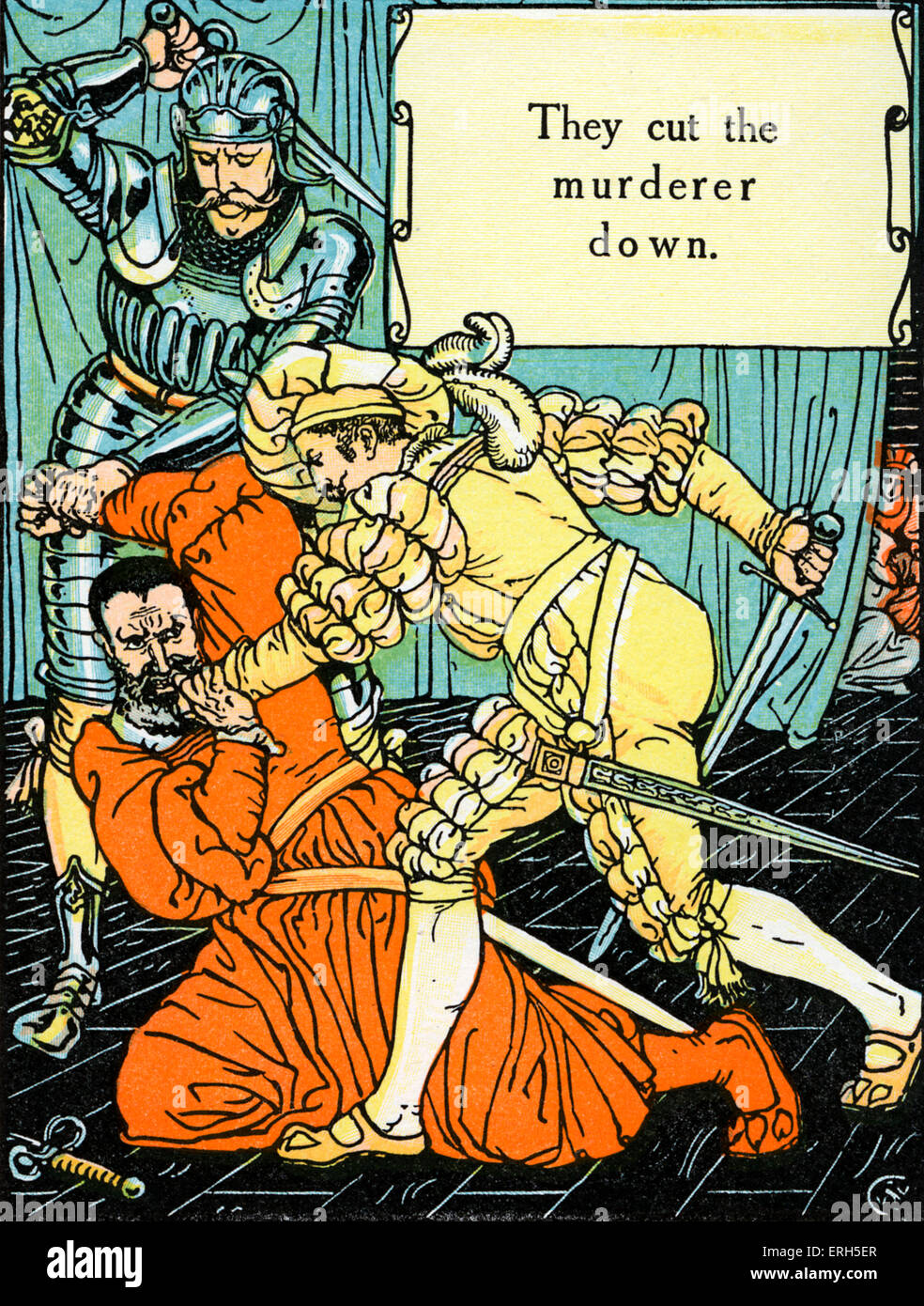 Bluebeard written and illustrated by Walter Crane and published in 1914. The scene depicts the murder of Blue Beard - Stock Image