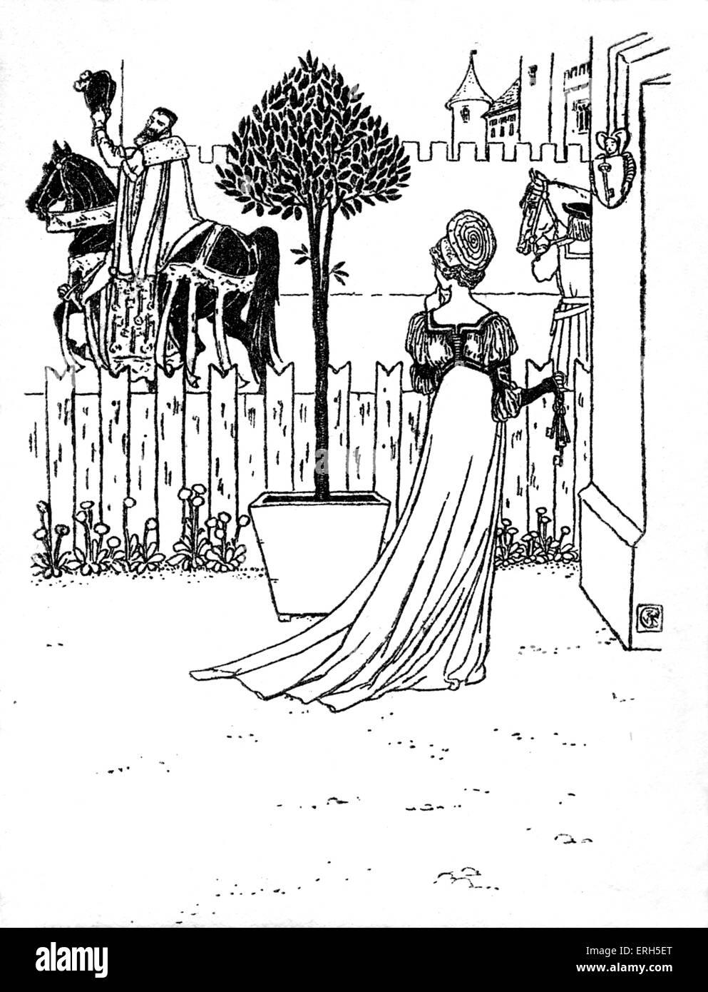 Bluebeard written and illustrated by Walter Crane and published in 1914. The scene depicts Blue Beard's departure, - Stock Image