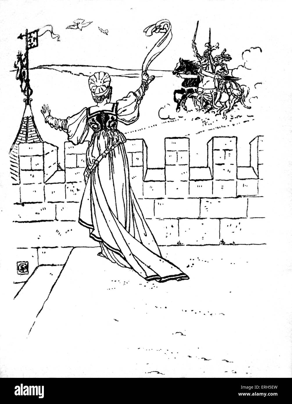 Bluebeard written and illustrated by Walter Crane and published in 1914. The scene depicts Blue Beard's wife - Stock Image