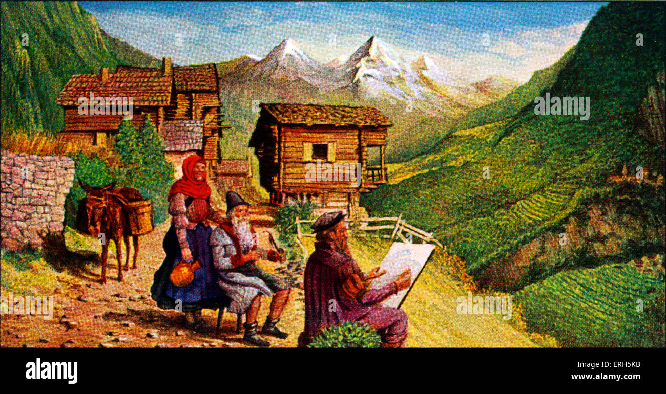 Pieter Bruegel in Italy. Breugel moved to Italy on becoming a master in 1551. Advertisement for Liebig's Meat - Stock Image