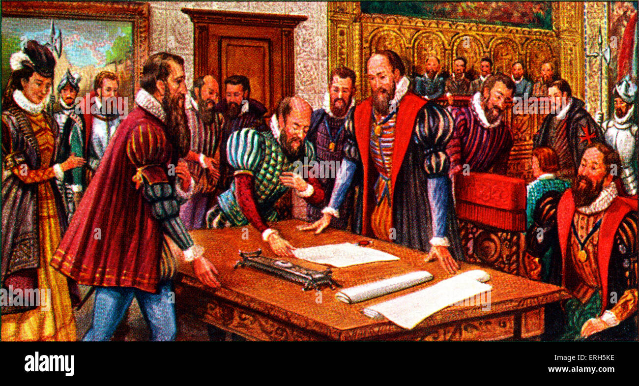 Pieter Bruegel at Brussels Town Hall in 1569 being commissioned to execute a series of paintings to commemorate - Stock Image