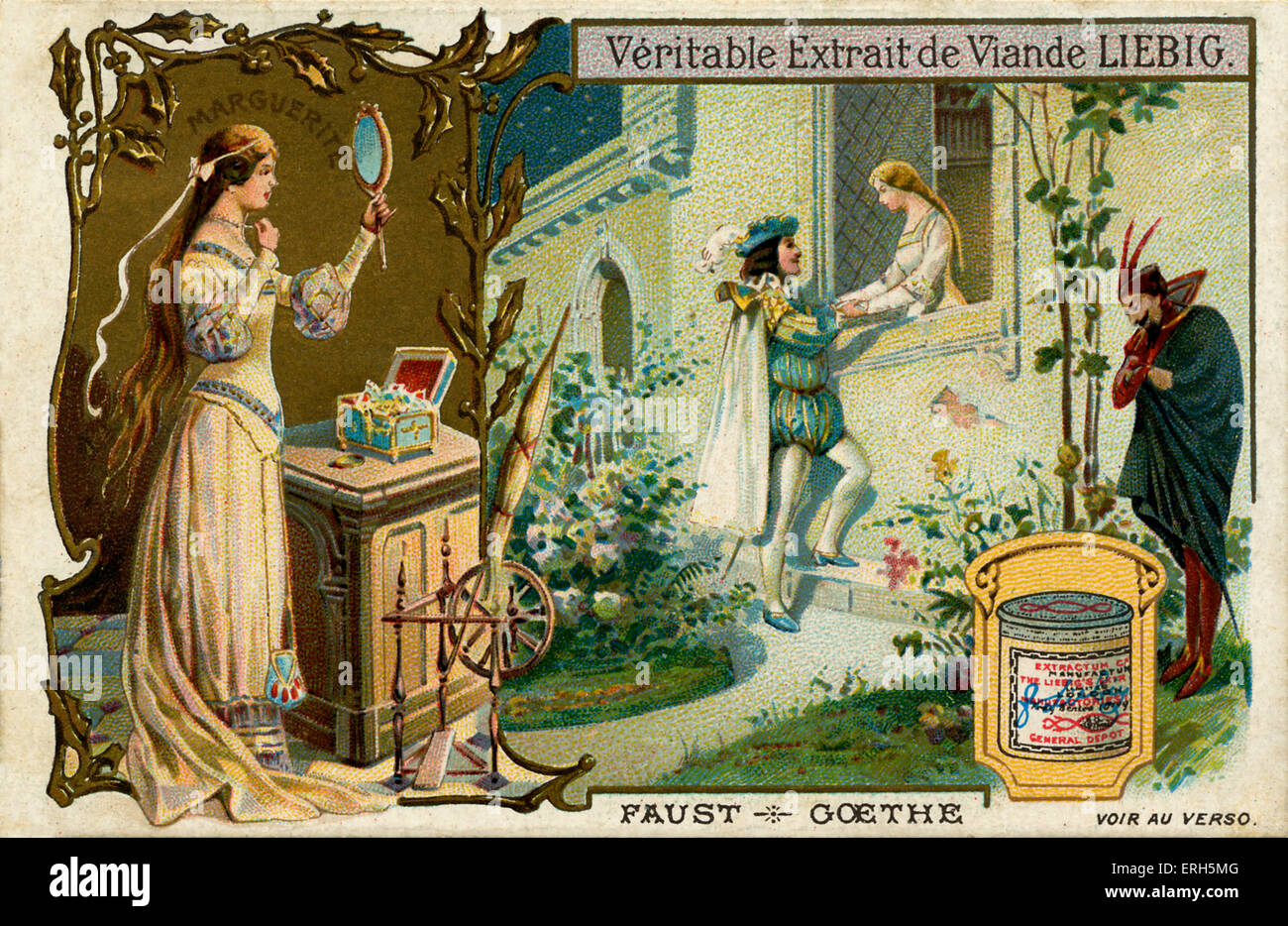 Faust by Charles Gounod  - illustration on Liebig meat extract collectible card. Opera (1859) in five acts based - Stock Image