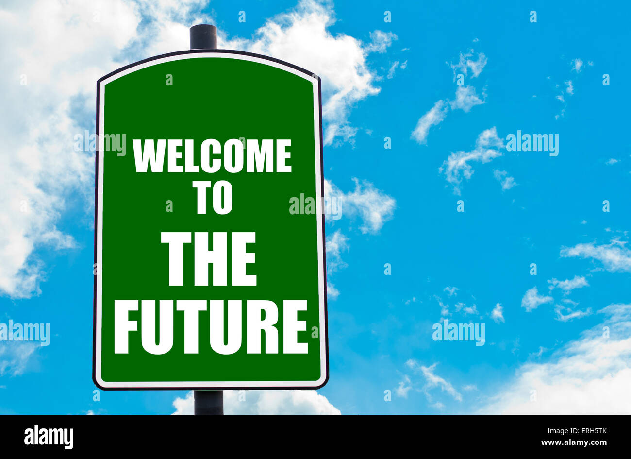Road sign welcome future words stock photos road sign welcome green road sign with greeting message welcome to the future isolated over clear blue sky background m4hsunfo