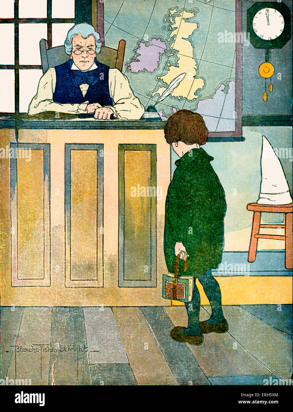 The Ten O'Clock Scholar, illustration by Blanche Fisher Wright (dates unknown), published 1916.  'A diller, a dollar, Stock Photo