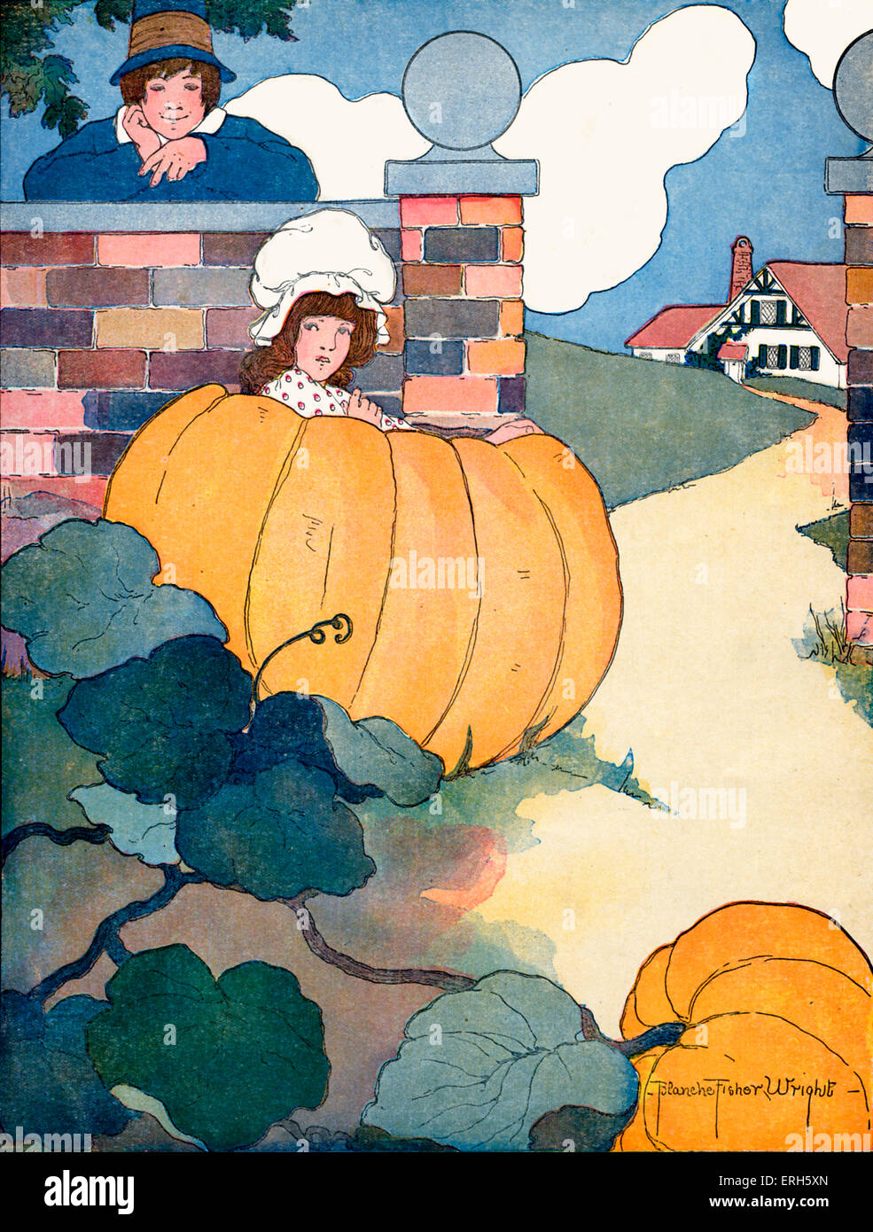 Peter, Peter, Pumkin Eater, illustration by Blanche Fisher Wright (dates unknown), published 1916.  'Peter, - Stock Image