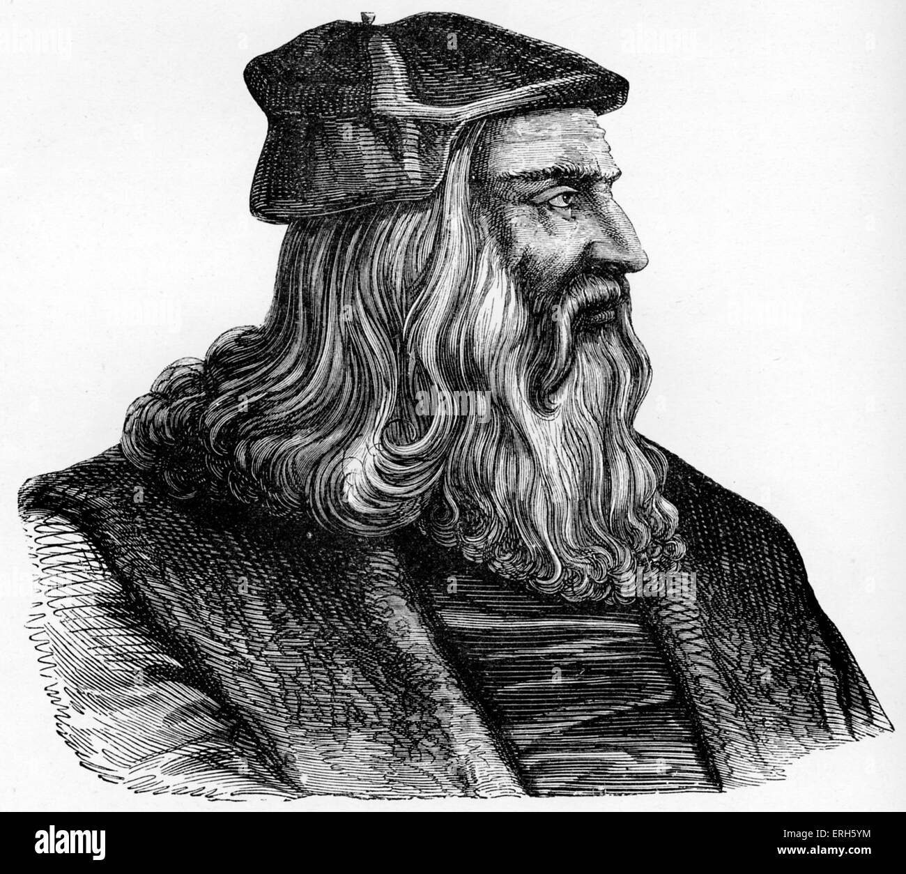 Leonardo da Vinci -  Italian Renaissance painter, sculptor, writer, scientist, architect and engineer. Venetian - Stock Image