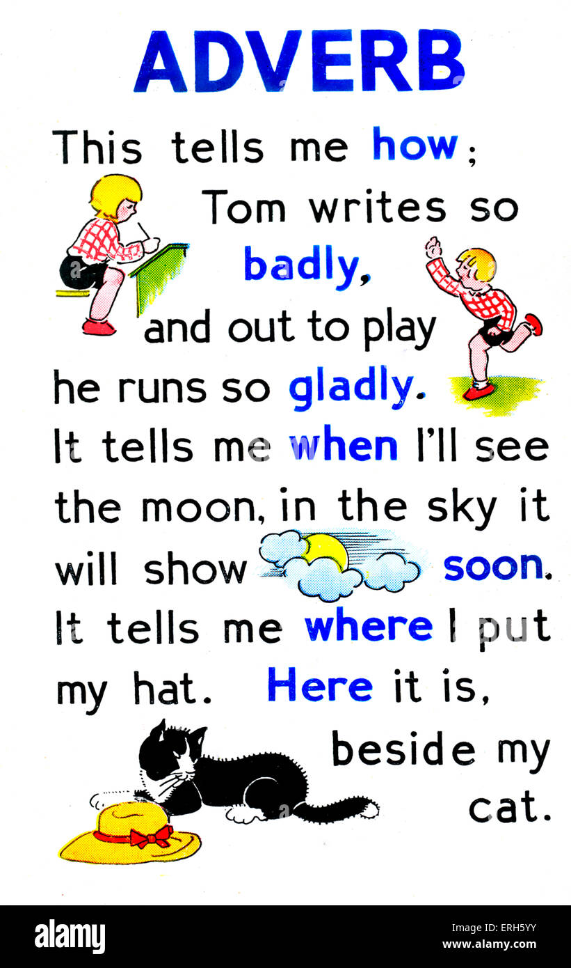 Page from 'First Grammar Book for Children', with an explanation of the functions of adverbs. Published - Stock Image