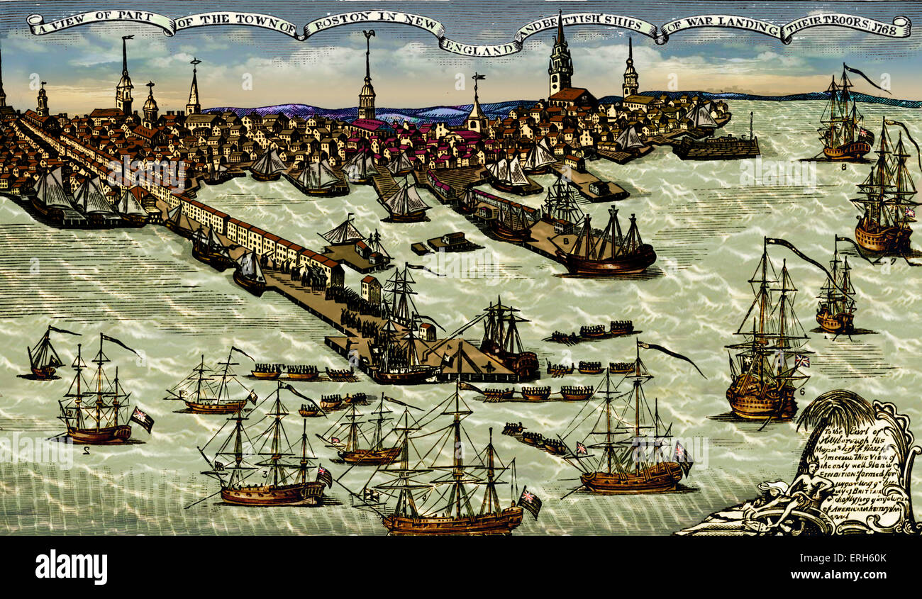 Landing of British troops at Boston harbour, 1768. Engraving by Paul  Revere. The colonists in Boston took direct action against