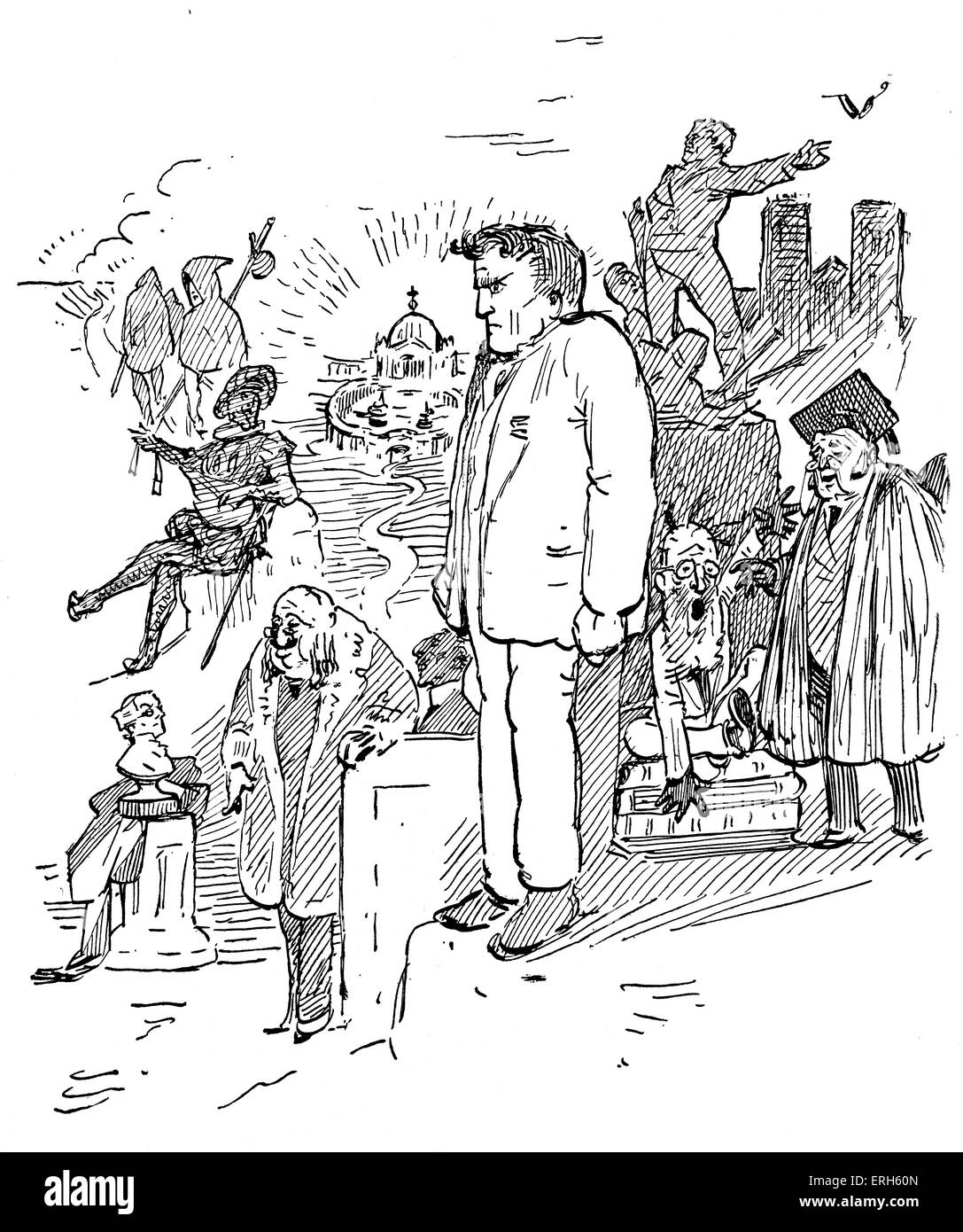 Hilaire Belloc by Gilbert Keith Chesterton. The accompanying verse reads 'Mr Hilaire Belloc / Is a case for - Stock Image