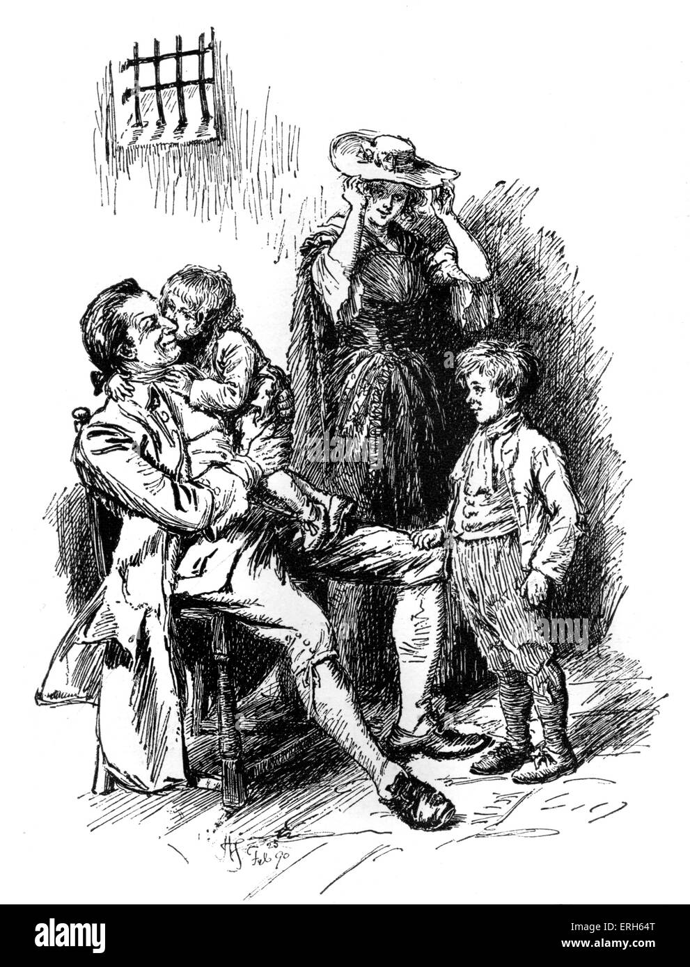 'The Vicar of Wakefield' by Hugh Thomson, taken from an illustration of a Macmillan edition of the book - Stock Image