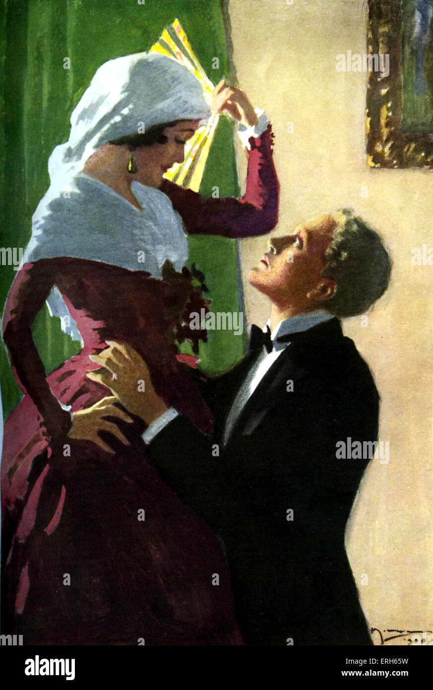 The Forsyte Saga by John Galsworthy,Caption reads 'He looked up with adoring eyes'. Artist A C Michael (no - Stock Image