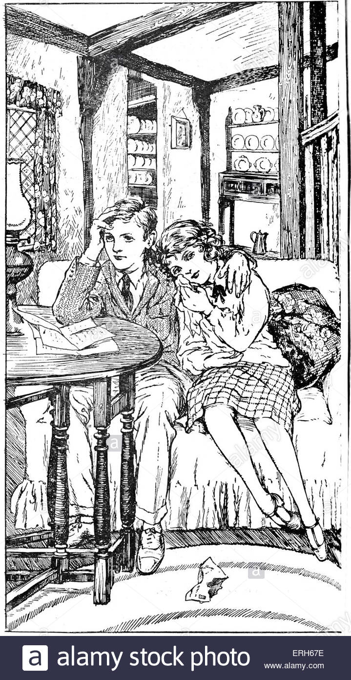 1920s children's book illustration - girl  consoled by boy. Caption reads: 'Dimity sobbing with her head - Stock Image