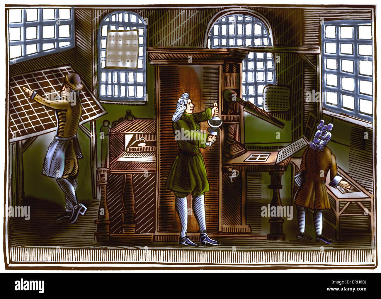 Printing office, c 1710. Engraving demonstrates early printing methods. - Stock Image
