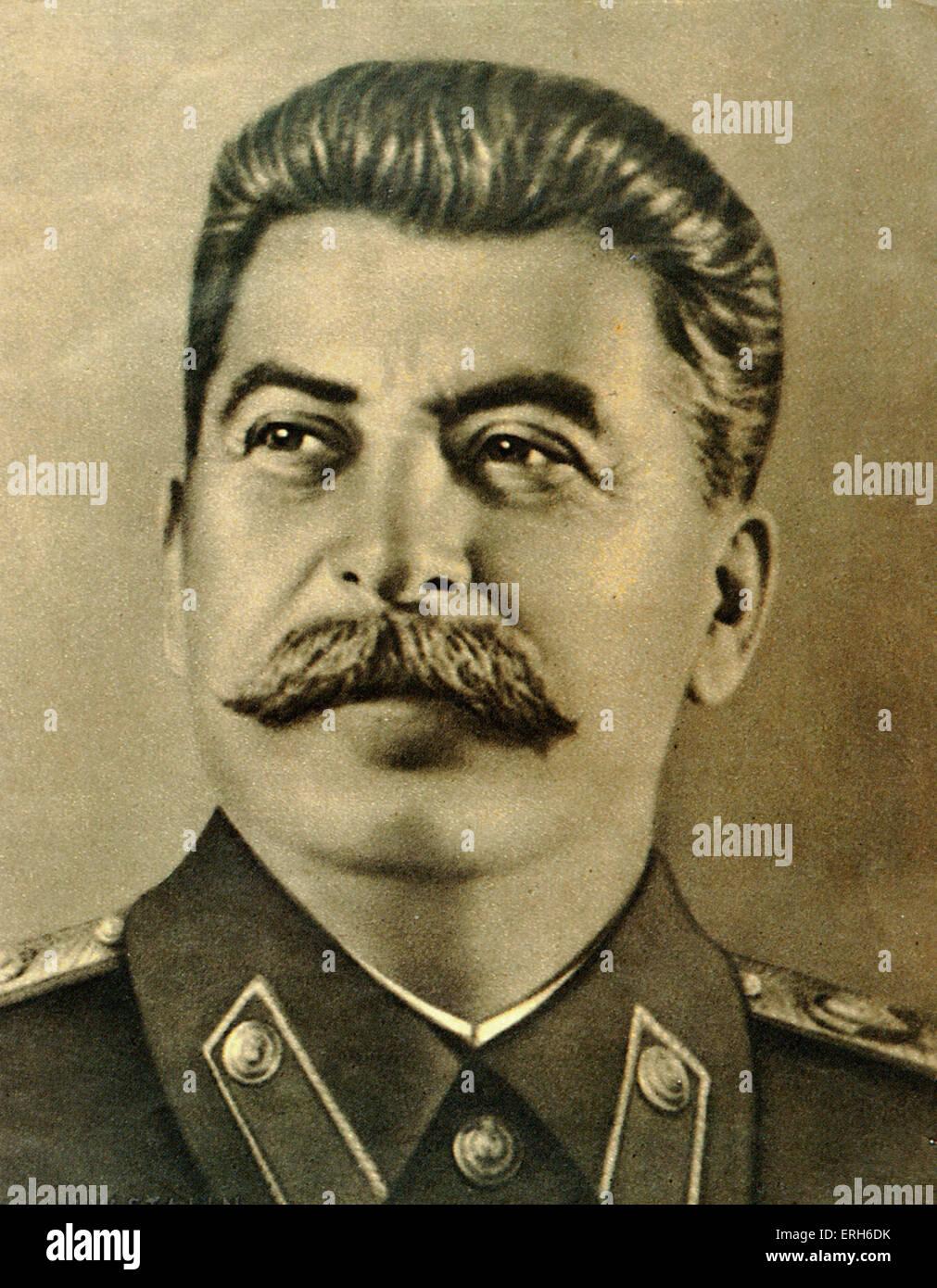 Joseph Stalin portrait. Soviet Russian ruler, leader, dictator.  1879 - 1953. Shostakovich & Prokofiev link. - Stock Image