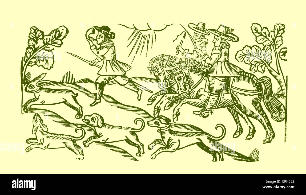 Hunters, c. 1680-1700. Two men on horseback and one sounding a horn. Several dogs chasing a hare. Taken from a mid - Stock Image