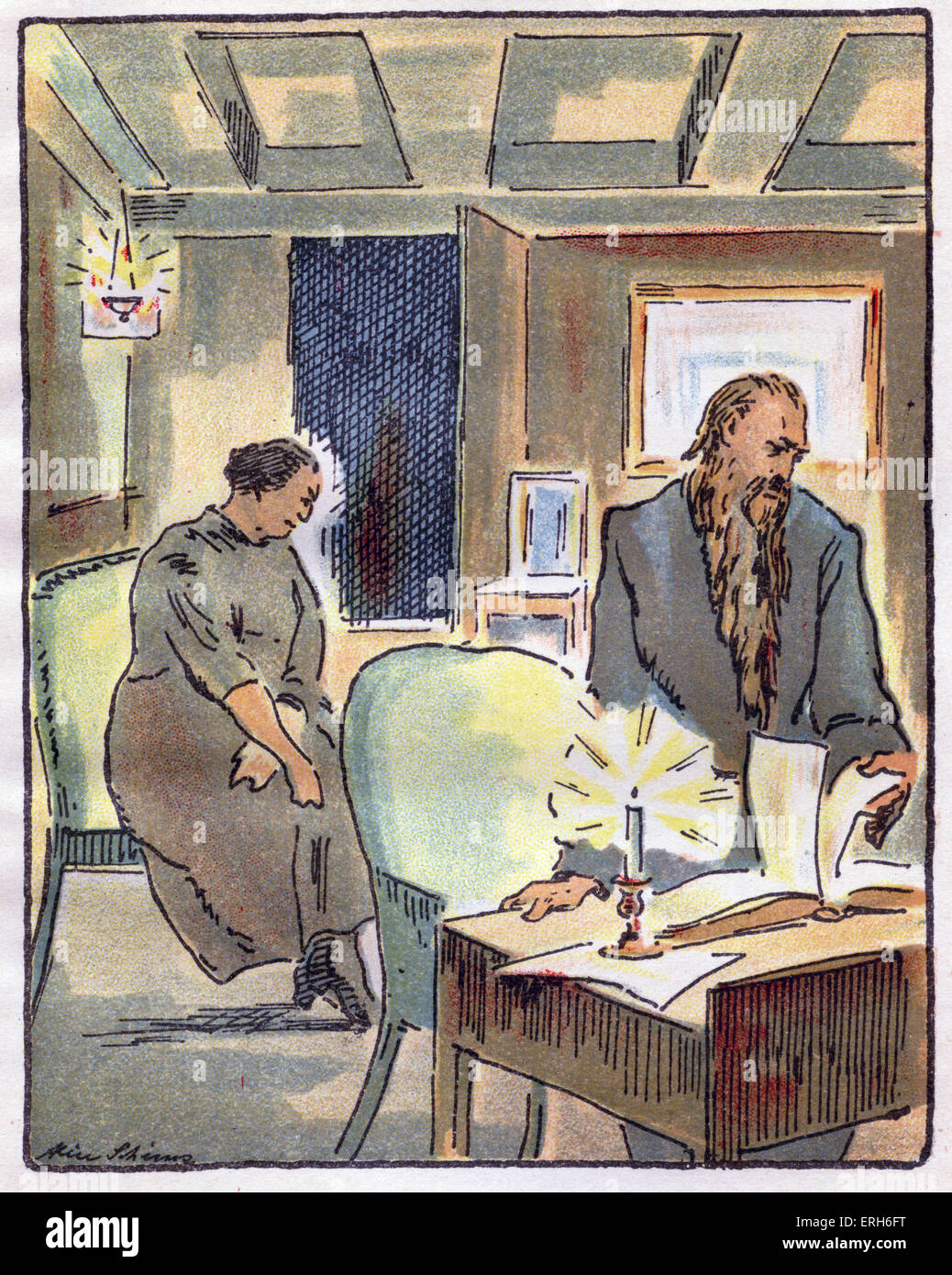 Das Schweigen (Silence) - novella by Leonid Andreyev, c. 1924.  Illustrated with lithographs by Alice Schimz. In - Stock Image