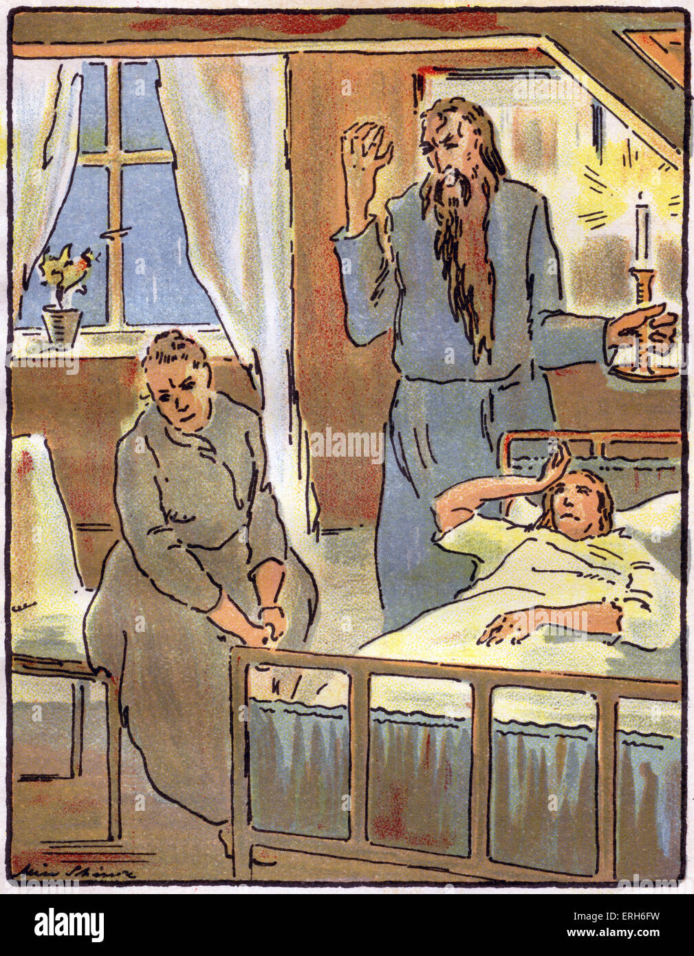 Das Schweigen (Silence) - novella by Leonid Andreyev, c. 1924.  Illustrated with lithographs by Alice Schimz.   - Stock Image