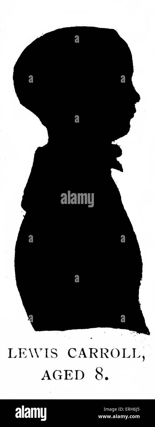Lewis Carroll - silhouette portrait aged 8 years old.  (Real name Reverend Charles Lutwidge Dodgson) English author: - Stock Image