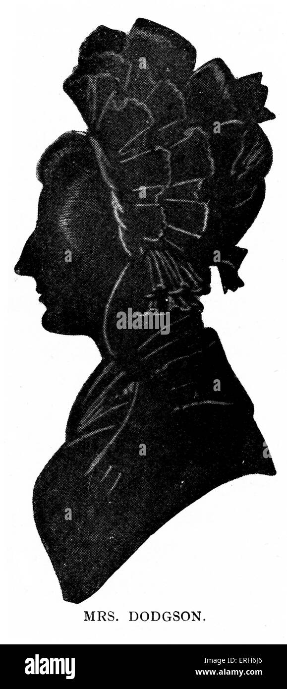 Mrs Dodgson - Lewis Carroll 's mother. Silhouette portrait. LC: (Real name Reverend Charles Lutwidge Dodgson) - Stock Image