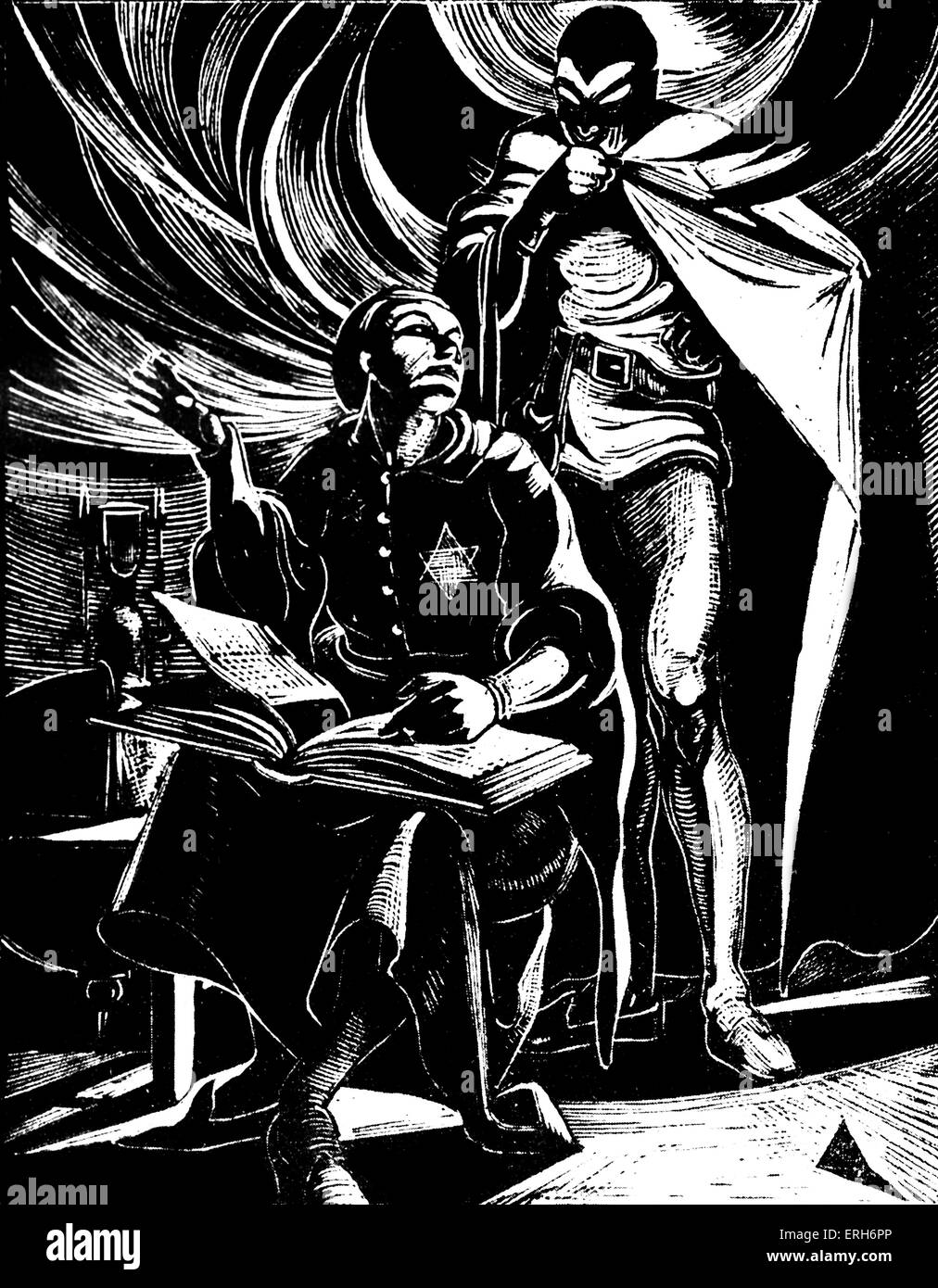 Faust: The Exorcism. Woodcut by Nan Leeder. JWG: German poet, novelist, dramatist, and philosopher.  August 28th Stock Photo