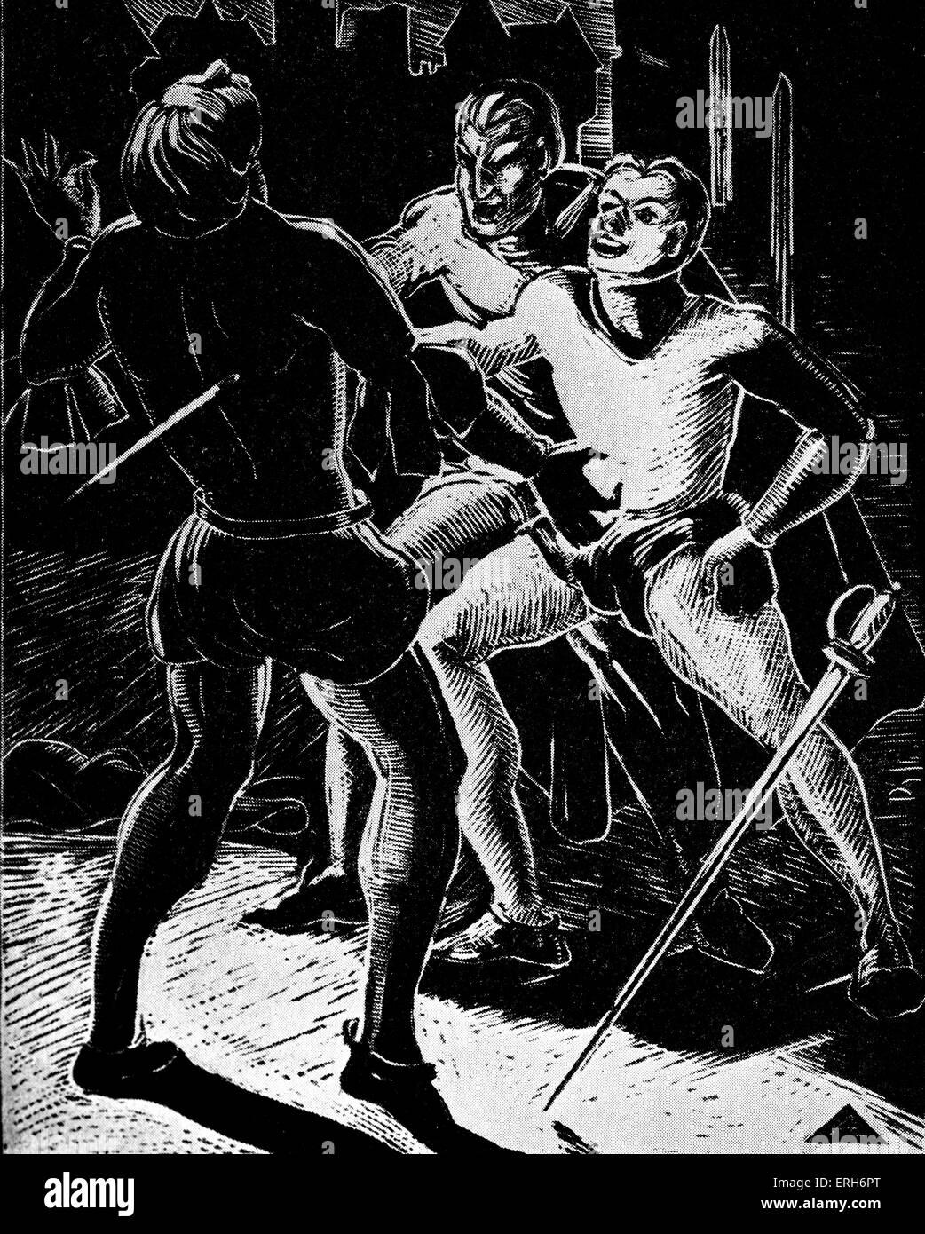 Faust: The Duel. Woodcut by Nan Leeder. JWG: German poet, novelist, dramatist, and philosopher.  August 28th 1749 - Stock Image