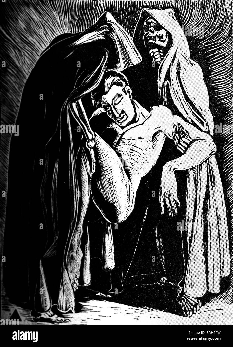 Faust: Death of Faust. Woodcut by Nan Leeder. JWG: German poet, novelist, dramatist, and philosopher.  August 28th - Stock Image
