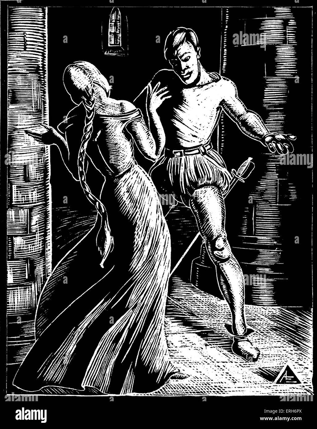Faust: The Dungeon. Woodcuts by Nan Leeder. JWG: German poet, novelist, dramatist, and philosopher.  August 28th - Stock Image