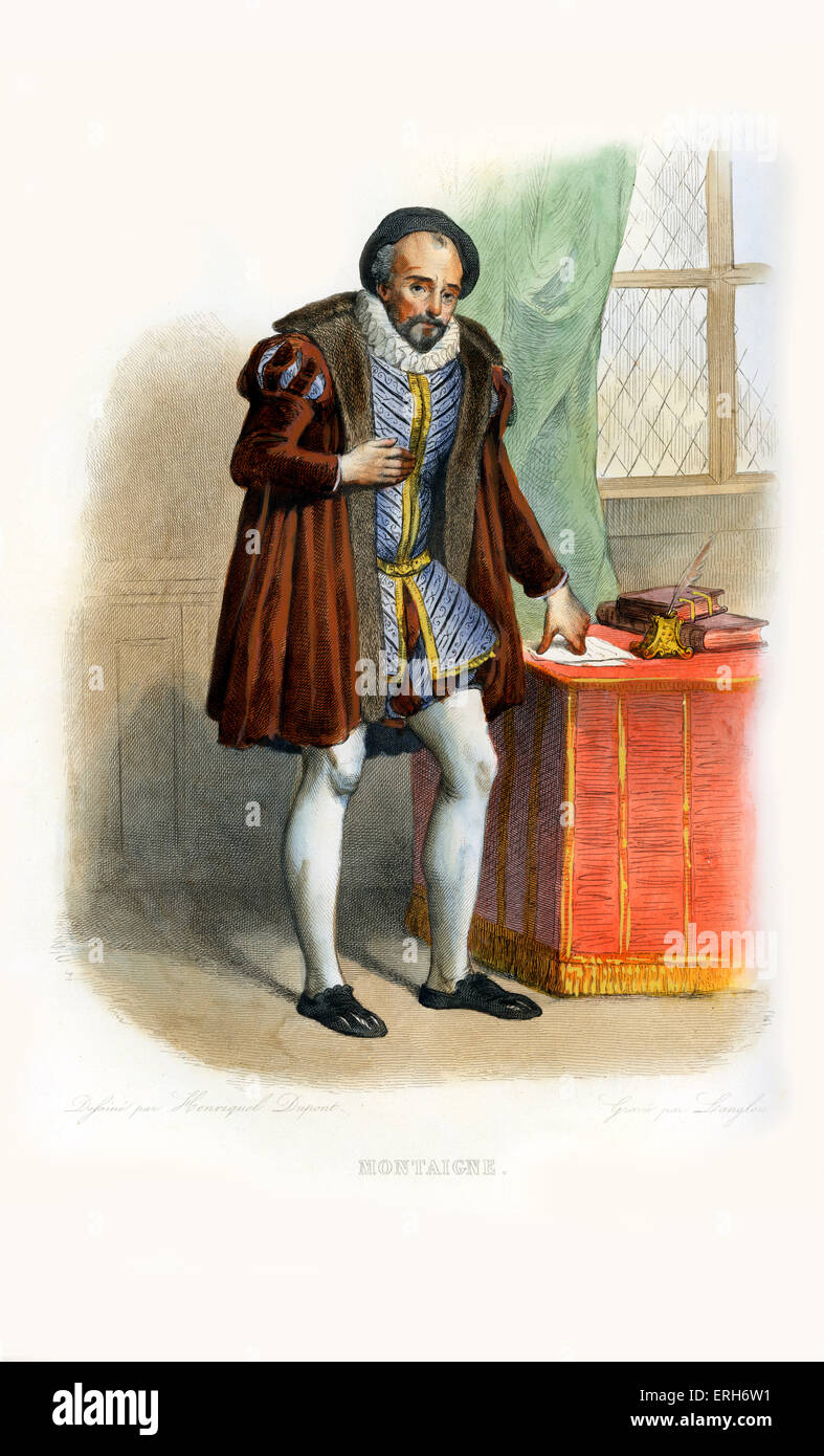 Michel de Montaigne. Influential writer of the French Renaissance; popularised the essay as a literary genre. Considered - Stock Image