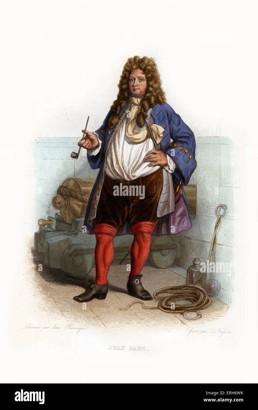 Jean Bart. French naval commander and privateer. 1650-1702. Engraving by Nargeot.c.1845 - Stock Image