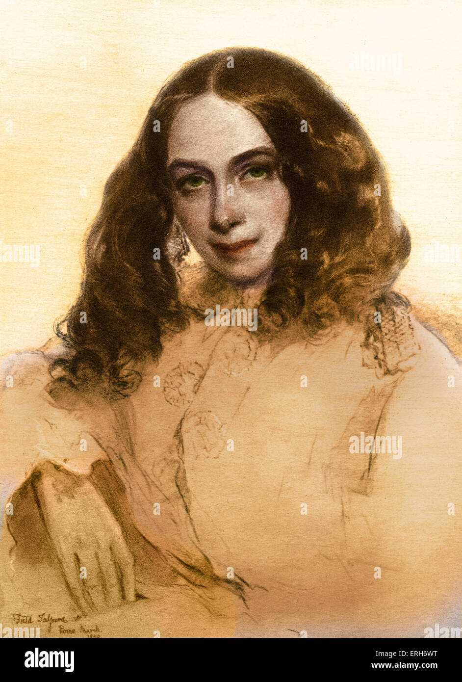 Elizabeth Barrett Browning portrait.     After the portrait by Field Talfourd. English poet, 6 March , 1806 – 29 - Stock Image