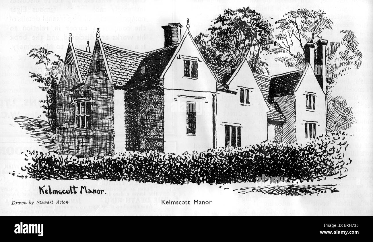 Kelmscott Manor, home of William Morris, who founded the Kelmscott press in January 1891. Drawing by Stewart Acton. Stock Photo