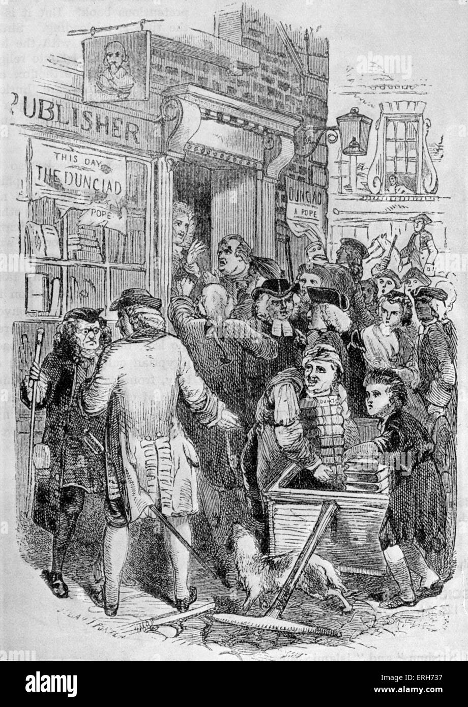 The Dunciad- caption reads: ' Indignant authors besieging the publishers to prevent the publication of the Dunciad - Stock Image