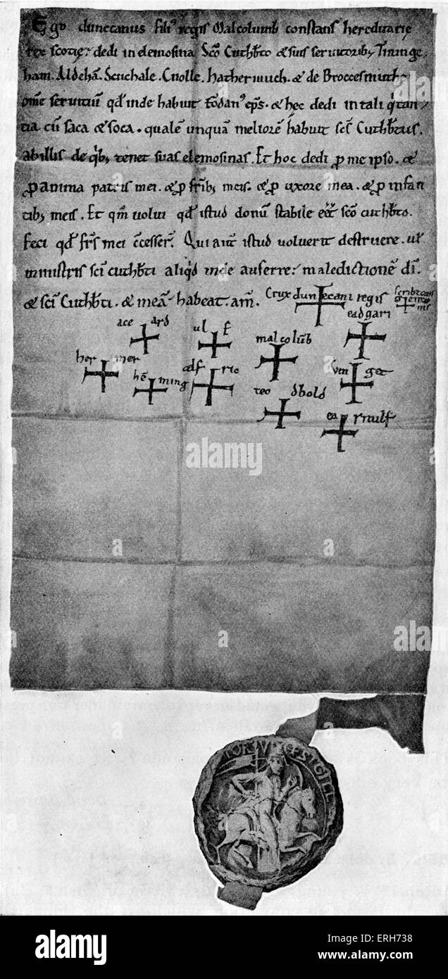 Duncan 's Charter of 1094 - the oldest surviving Scottish royal charter for St Cuthbert and his servants and - Stock Image