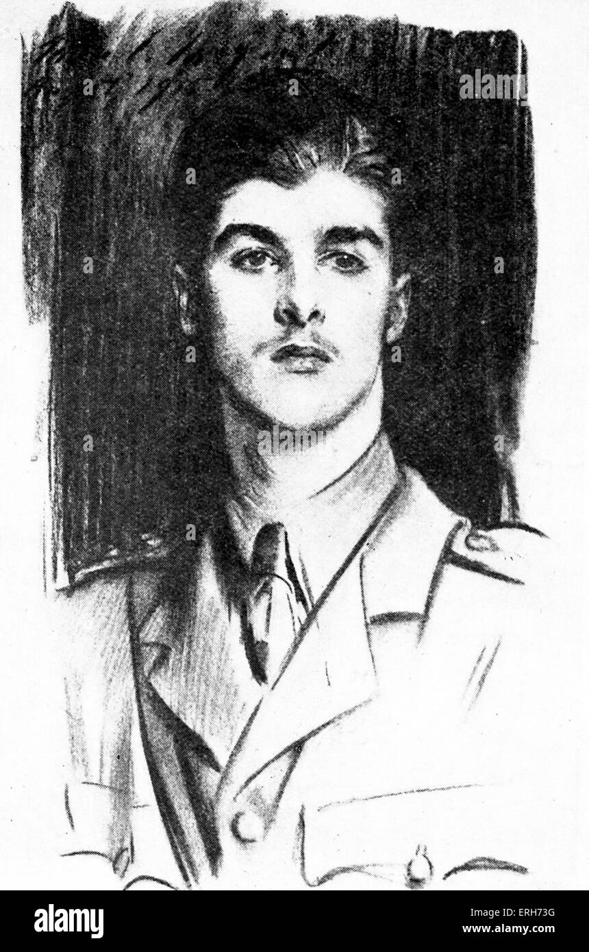 Edward Wyndham Tennant - portrait. English war poet, killed at the Battle of the Somme.1 July 1897 – 22 September - Stock Image