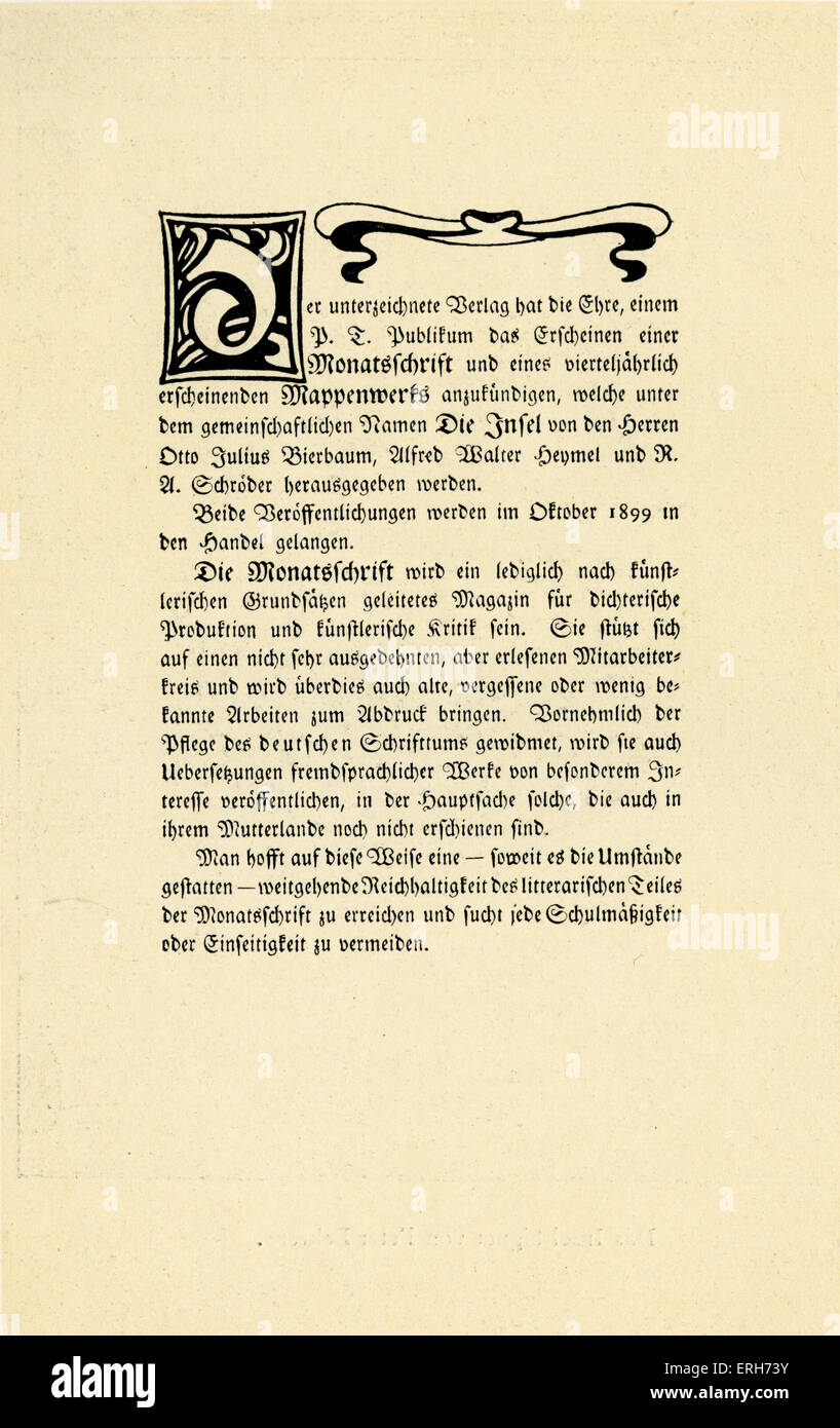 First page of announcement of Die Insel ( The Island)  -  German literary and art magazine   published in Munich - Stock Image