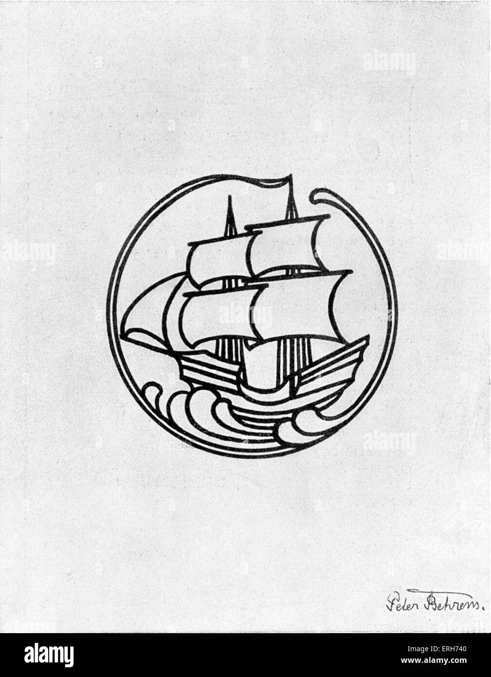 Emblem / logo of  Die Insel in 1899 l ( The Island) by Peter Behrens (14 April  1868 – 27 February  1940)  -  German - Stock Image