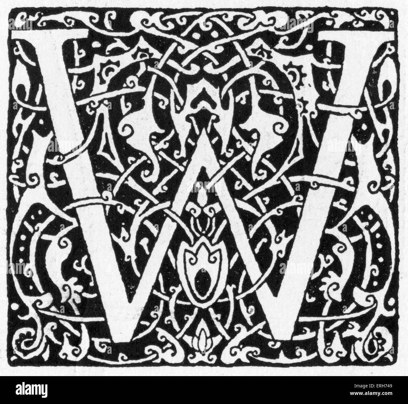 Illuminated 'W' from Goethe 's  East-West Divan / Westöstlichen Divan 1910 in  Die Insel ( The - Stock Image
